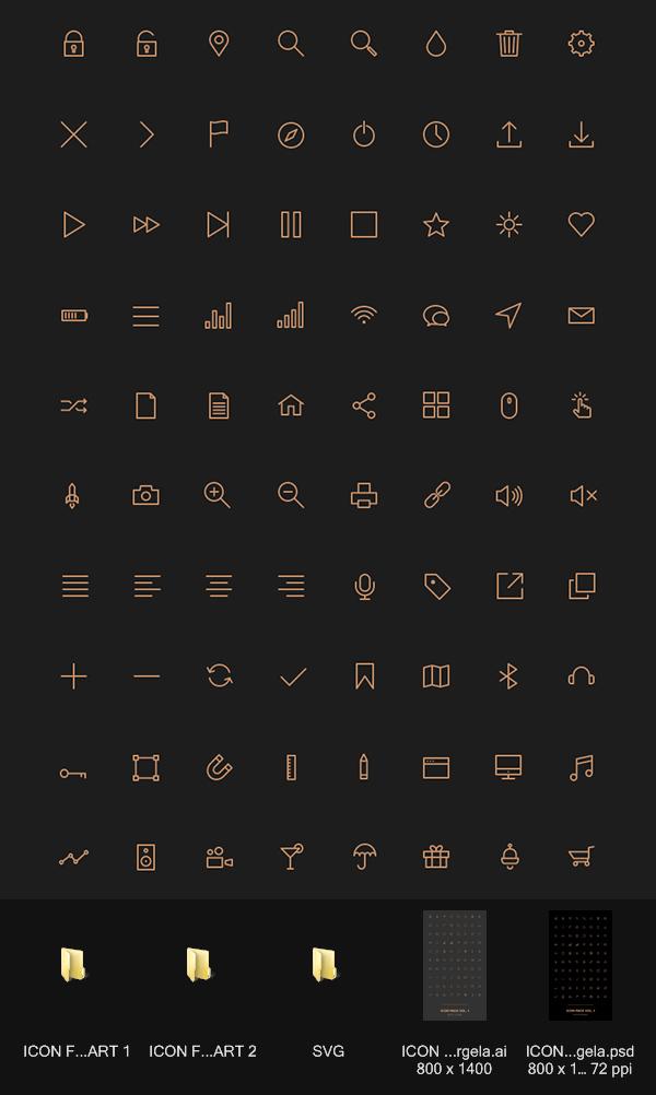 80 stroke icons 简约金色风格图标 发布者: 我是素材王