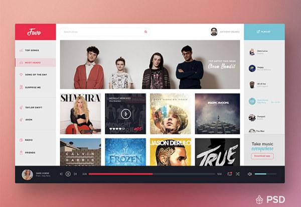 音乐播放器UI软件界面 类似网易云音乐 发布者: yecha