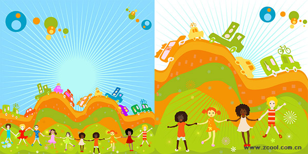 儿童节缤纷儿童插画矢量素材 发布者: 我是模板王