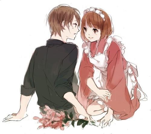 我在你的视线里 浪漫小情侣动漫插画图片 发布者: yecha