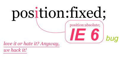 让position:fixed在IE6下可用 附带css写法 发布者: yecha